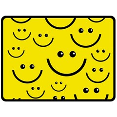 Digitally Created Yellow Happy Smile  Face Wallpaper Double Sided Fleece Blanket (Large)
