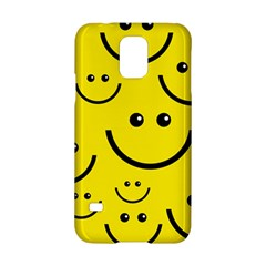 Digitally Created Yellow Happy Smile  Face Wallpaper Samsung Galaxy S5 Hardshell Case