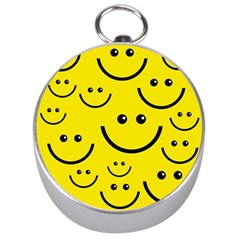 Digitally Created Yellow Happy Smile  Face Wallpaper Silver Compasses