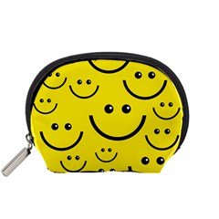 Digitally Created Yellow Happy Smile  Face Wallpaper Accessory Pouches (Small)