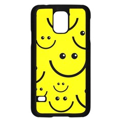 Digitally Created Yellow Happy Smile  Face Wallpaper Samsung Galaxy S5 Case (black)