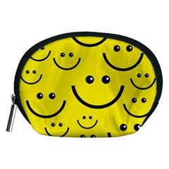Digitally Created Yellow Happy Smile  Face Wallpaper Accessory Pouches (Medium)