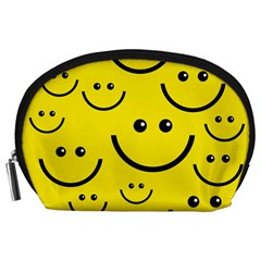 Digitally Created Yellow Happy Smile  Face Wallpaper Accessory Pouches (Large)