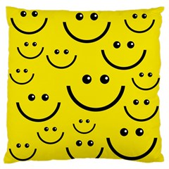 Digitally Created Yellow Happy Smile  Face Wallpaper Large Flano Cushion Case (Two Sides)