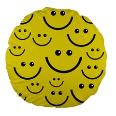Digitally Created Yellow Happy Smile  Face Wallpaper Large 18  Premium Flano Round Cushions
