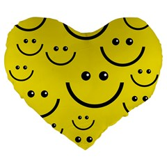 Digitally Created Yellow Happy Smile  Face Wallpaper Large 19  Premium Flano Heart Shape Cushions