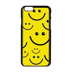 Digitally Created Yellow Happy Smile  Face Wallpaper Apple iPhone 6/6S Black Enamel Case
