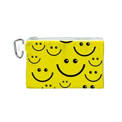 Digitally Created Yellow Happy Smile  Face Wallpaper Canvas Cosmetic Bag (S)
