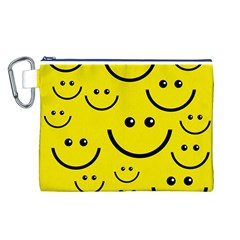 Digitally Created Yellow Happy Smile  Face Wallpaper Canvas Cosmetic Bag (L)