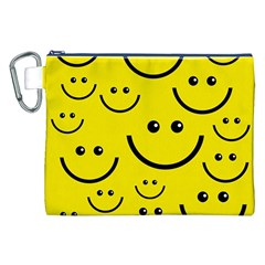 Digitally Created Yellow Happy Smile  Face Wallpaper Canvas Cosmetic Bag (XXL)