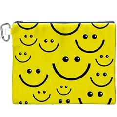 Digitally Created Yellow Happy Smile  Face Wallpaper Canvas Cosmetic Bag (xxxl)