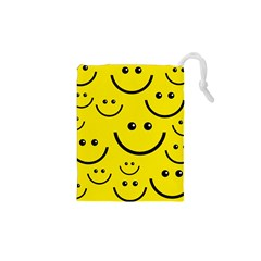 Digitally Created Yellow Happy Smile  Face Wallpaper Drawstring Pouches (XS)