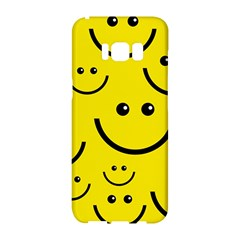 Digitally Created Yellow Happy Smile  Face Wallpaper Samsung Galaxy S8 Hardshell Case