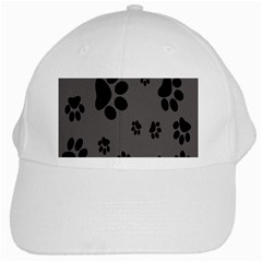 Dog Foodprint Paw Prints Seamless Background And Pattern White Cap