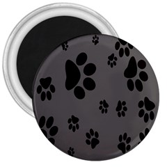 Dog Foodprint Paw Prints Seamless Background And Pattern 3  Magnets