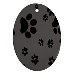 Dog Foodprint Paw Prints Seamless Background And Pattern Ornament (Oval)