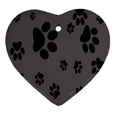 Dog Foodprint Paw Prints Seamless Background And Pattern Ornament (Heart)