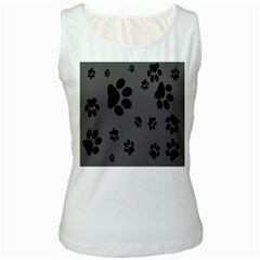 Dog Foodprint Paw Prints Seamless Background And Pattern Women s White Tank Top