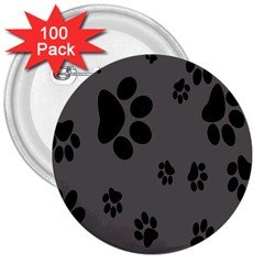 Dog Foodprint Paw Prints Seamless Background And Pattern 3  Buttons (100 Pack)