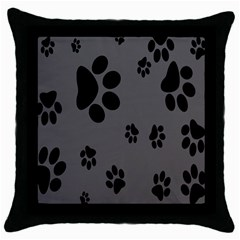Dog Foodprint Paw Prints Seamless Background And Pattern Throw Pillow Case (Black)