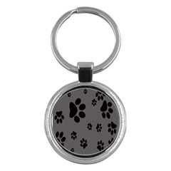Dog Foodprint Paw Prints Seamless Background And Pattern Key Chains (round)