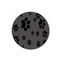 Dog Foodprint Paw Prints Seamless Background And Pattern Rubber Coaster (Round)