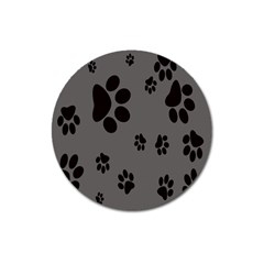 Dog Foodprint Paw Prints Seamless Background And Pattern Magnet 3  (round)