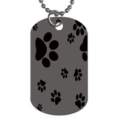 Dog Foodprint Paw Prints Seamless Background And Pattern Dog Tag (one Side)