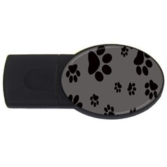 Dog Foodprint Paw Prints Seamless Background And Pattern Usb Flash Drive Oval (2 Gb)