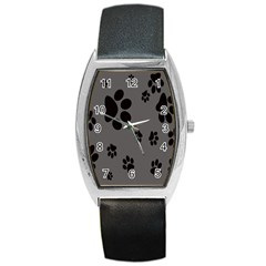 Dog Foodprint Paw Prints Seamless Background And Pattern Barrel Style Metal Watch