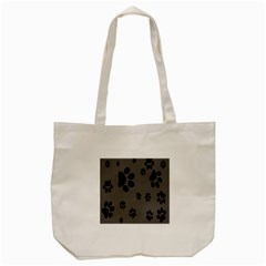 Dog Foodprint Paw Prints Seamless Background And Pattern Tote Bag (cream)
