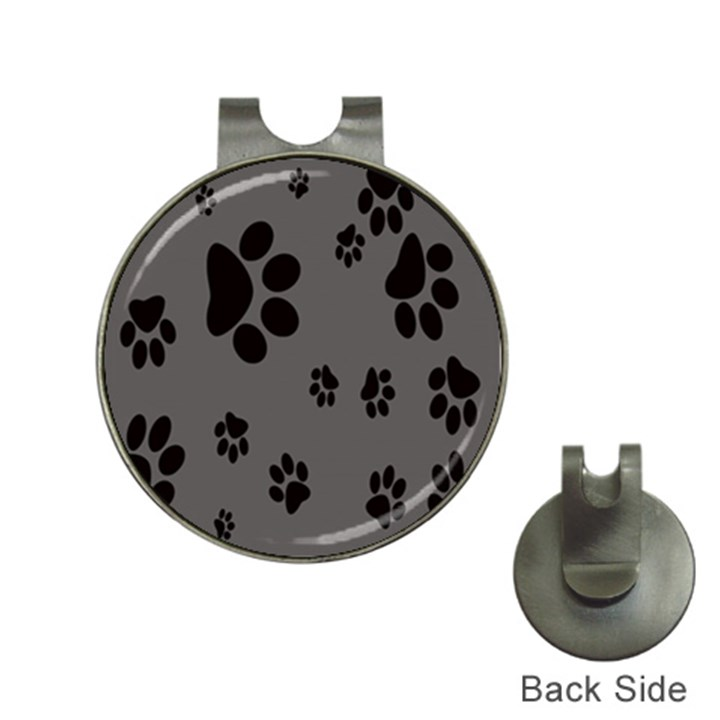 Dog Foodprint Paw Prints Seamless Background And Pattern Hat Clips with Golf Markers