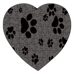 Dog Foodprint Paw Prints Seamless Background And Pattern Jigsaw Puzzle (Heart)