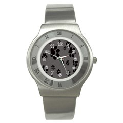 Dog Foodprint Paw Prints Seamless Background And Pattern Stainless Steel Watch