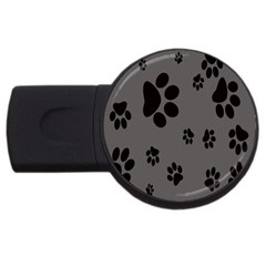 Dog Foodprint Paw Prints Seamless Background And Pattern USB Flash Drive Round (4 GB)