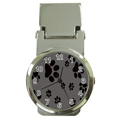 Dog Foodprint Paw Prints Seamless Background And Pattern Money Clip Watches