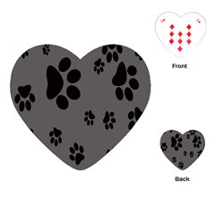 Dog Foodprint Paw Prints Seamless Background And Pattern Playing Cards (Heart)