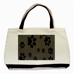 Dog Foodprint Paw Prints Seamless Background And Pattern Basic Tote Bag