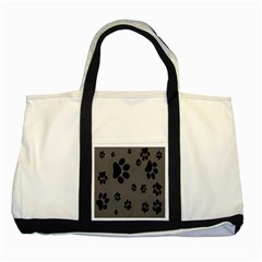 Dog Foodprint Paw Prints Seamless Background And Pattern Two Tone Tote Bag