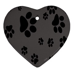 Dog Foodprint Paw Prints Seamless Background And Pattern Heart Ornament (two Sides)