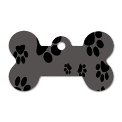 Dog Foodprint Paw Prints Seamless Background And Pattern Dog Tag Bone (one Side)