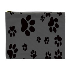 Dog Foodprint Paw Prints Seamless Background And Pattern Cosmetic Bag (XL)