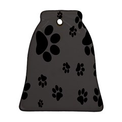 Dog Foodprint Paw Prints Seamless Background And Pattern Ornament (Bell)