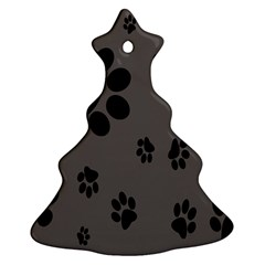 Dog Foodprint Paw Prints Seamless Background And Pattern Christmas Tree Ornament (Two Sides)