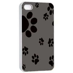 Dog Foodprint Paw Prints Seamless Background And Pattern Apple Iphone 4/4s Seamless Case (white)