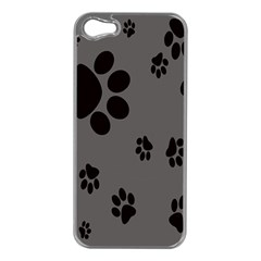 Dog Foodprint Paw Prints Seamless Background And Pattern Apple iPhone 5 Case (Silver)