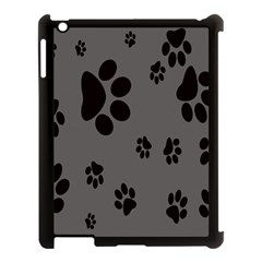 Dog Foodprint Paw Prints Seamless Background And Pattern Apple iPad 3/4 Case (Black)