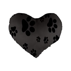 Dog Foodprint Paw Prints Seamless Background And Pattern Standard 16  Premium Heart Shape Cushions