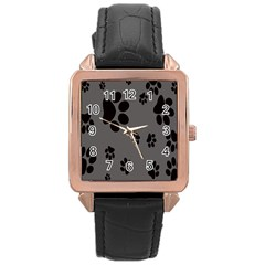 Dog Foodprint Paw Prints Seamless Background And Pattern Rose Gold Leather Watch