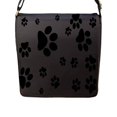 Dog Foodprint Paw Prints Seamless Background And Pattern Flap Messenger Bag (L)